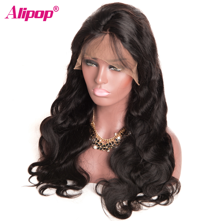 180 Density Brazilian Body Wave 360 Lace Frontal Wig Pre Plucked With Baby Hair Alipop Remy