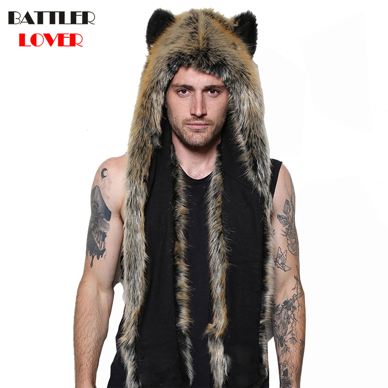 Women/Men Winter Faux Fur Hood Animal Hat Ear Flaps Hand Pocket Scarf Hood Hat Wolf Plush Warm Animal Cap With Fur Scarf Gloves
