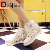 DoraTasia On Selling Cut Out Summer Boots Women Lace Up Round Toe Wedges Sweet Style Platform Shoes Woman Plus Size 34 43