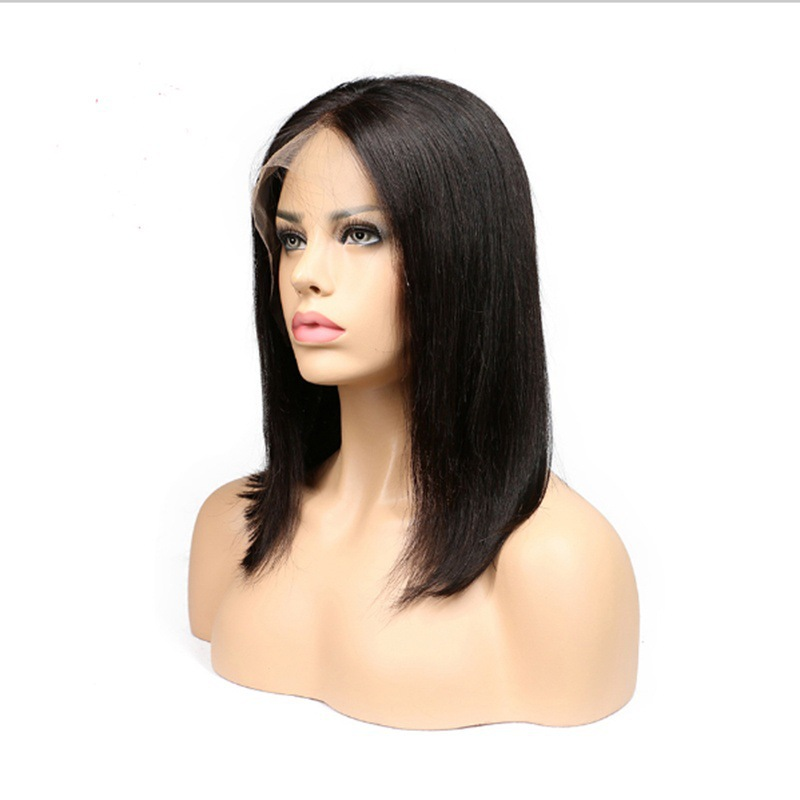 Short Hair Lace Front Human Hair Wigs For Women Remy Hair Mid-point Long Straight Wig With Baby Natural Hairline Black Color sparkling long inclined bang human hair straight golden brown siv hair wig