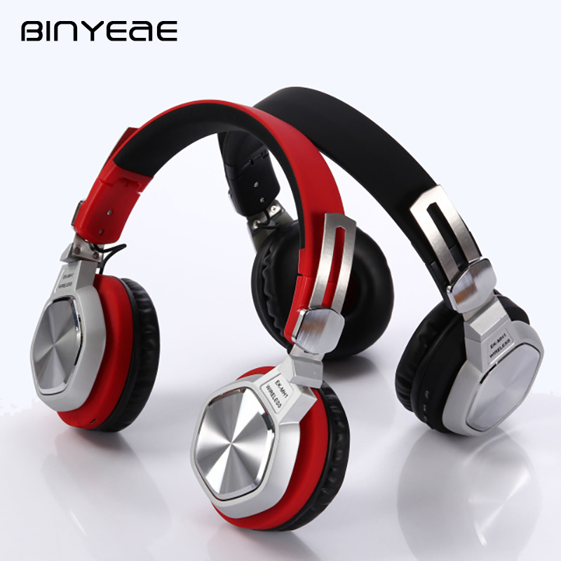 BINYEAE Metal Blutooth Headset Stereo Wireless Headphones Sport High Quality Music Earbuds Wireless Earphones with Mic for MP3 aimitek sport wireless bluetooth headphones stereo earphones mp3 music player headset earpiece micro sd card slot handsfree mic