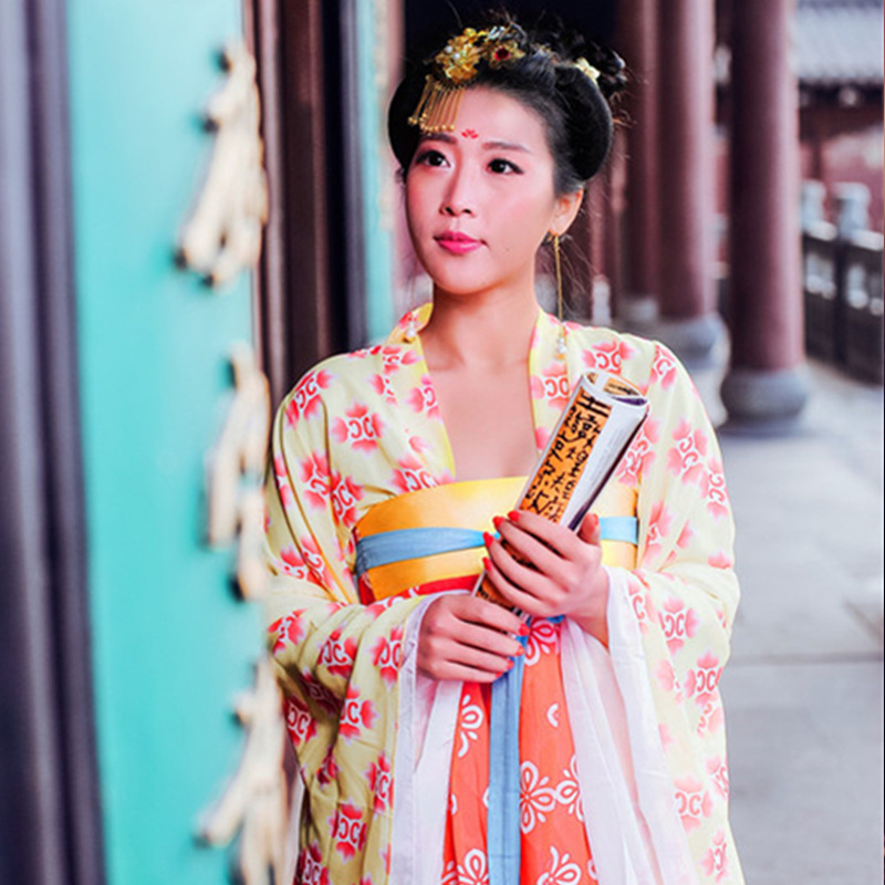 DJGRSTER 2018 Autumn Long Sleeve Women Chinese Tradiational Dance Costume Ancient National Dance Dress For Stage Hanfu Clothing 2017 autumn kids costume girls hanfu stage clothing photography costume song of the goose