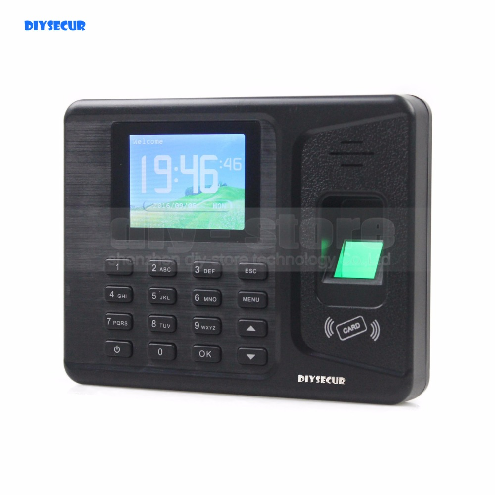 DIYSECUR 2.8inch LCD Biometric Fingerprint Time Attendance Digital Electronic Reader Machine Clock Employee Payroll Realand