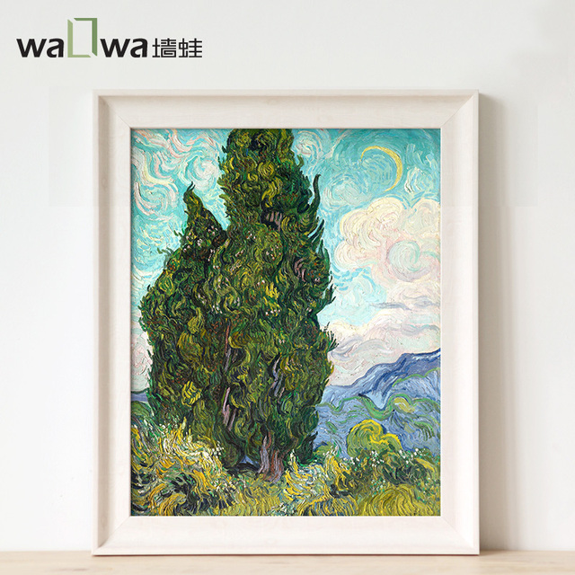 Cypress frog Van Gogh silk painting wall entrance of modern European paintings have frame painting murals decorative painting th-in Figurines & ...