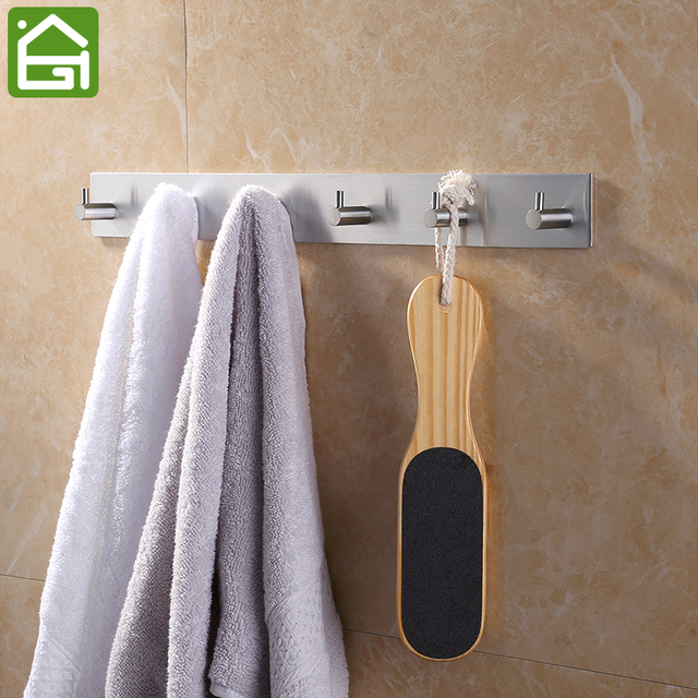 Rustproof SUB 304 Stainless Steel 3m Sticker Wall Mounted Hooks Rail  Bathroom Kitchen Bar Wall Hook