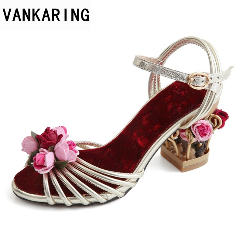 VANKARING sweet fashion 2018 bird cage high heels flower women shoes square middle heels party dress