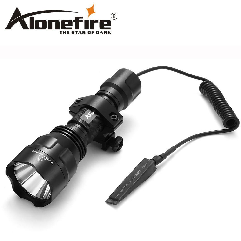 AloneFire CREE XML-T6 L2 U3 LED C8 Taktische Taschenlampe jagd 20mm Montieren Airsoft Zielfernrohr Schrotflinten licht 18650 batterie
