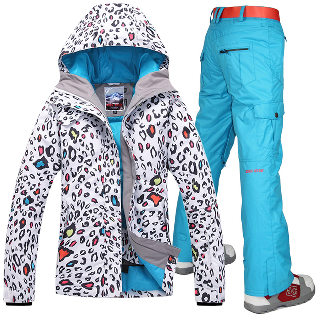 2016 Gsou snow womens ski suit ladies skiwear snow suit leopard jacket and blue pants waterproof 10K breathable free ship EMS