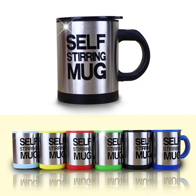 400ml Automatische Selbst R hren Becher Kaffee Milch Misch Becher Edelstahl Thermische Tasse Elektrische Faul Doppel