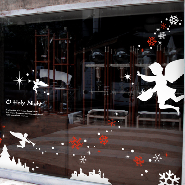 DCTAL Large Christmas Angel Sticker X mas Decal Posters Vinyl Wall Decals Decor Mural Glass Shop Window Home Decoration