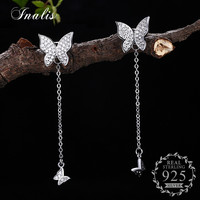 INALIS 925 Sterling Silver Double Shiny Butterfly Drop Earrings Trendy Design Women Girls Gift Long Chain