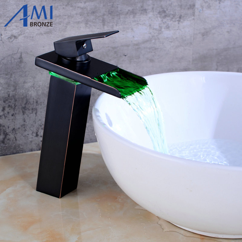 "10.6"" Black Water Powered LED Faucet Bathroom Basin Faucet  Brass Mixer Tap Waterfall Faucets Hot Cold Crane Basin Tap-in Basin Faucets from Home Improvement    1"