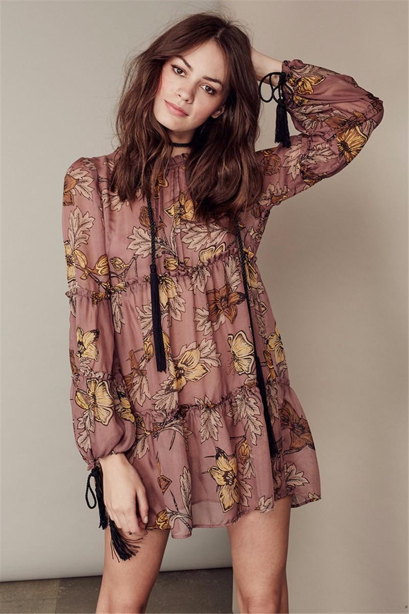 women dress Autumn winter long sleeve ruffle chiffon dress Vintage loose short dress Boho floral print tassel vestidos 10