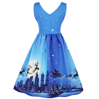 CharMma 2017 Christmas Deer Print Vintage Party Dress A Line Pin Up Swing Dress Women Retro