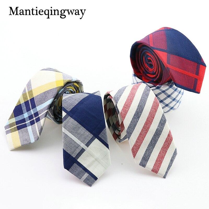 Mantieqingway Fashion Men Ties New Plaid And Striped Men Skinny Necktie Corbatas Neck Ties 6 CM Narrow Party Neck Tie For Men