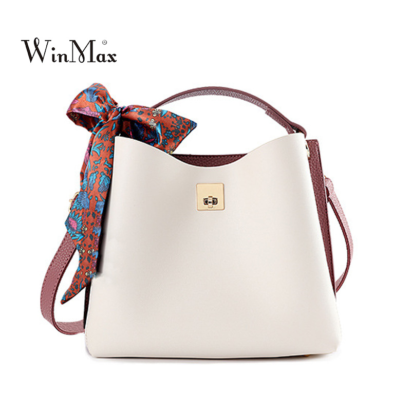 PU Leather Women Handbag Ribbon Summer Bucket Fashion Women Bag Bolsa Ladies Tote Bag New Shoulder Bags Girl sac white yellow women bucket bag package fashion bolsa feminina casual soft clutch ladies leather shoulder bags tote messenger bolso mujer 2017