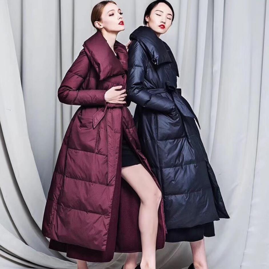 Femmes dowm veste d'hiver veste femmes blanc duvet de canard manteau 2018 chaud Parka laine mélanges patchwork longue doudoune