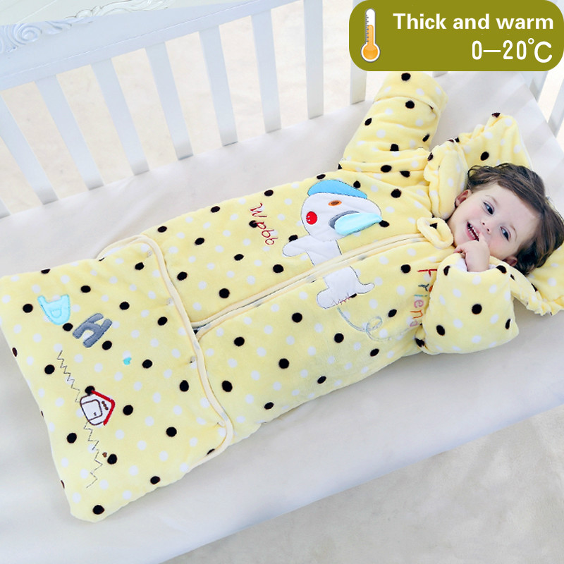 Baby sleeping bag winter anti-kick quilt velvet children sleep sack spring and autumn thicker detachable sleeves 0-5 years old cuplé легкое пальто