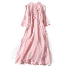 Early Spring Autumn Vintage Organza Dress Stand Collar Long-Sleeve Stereo Flower Embroidered Slit Pendulum Silk