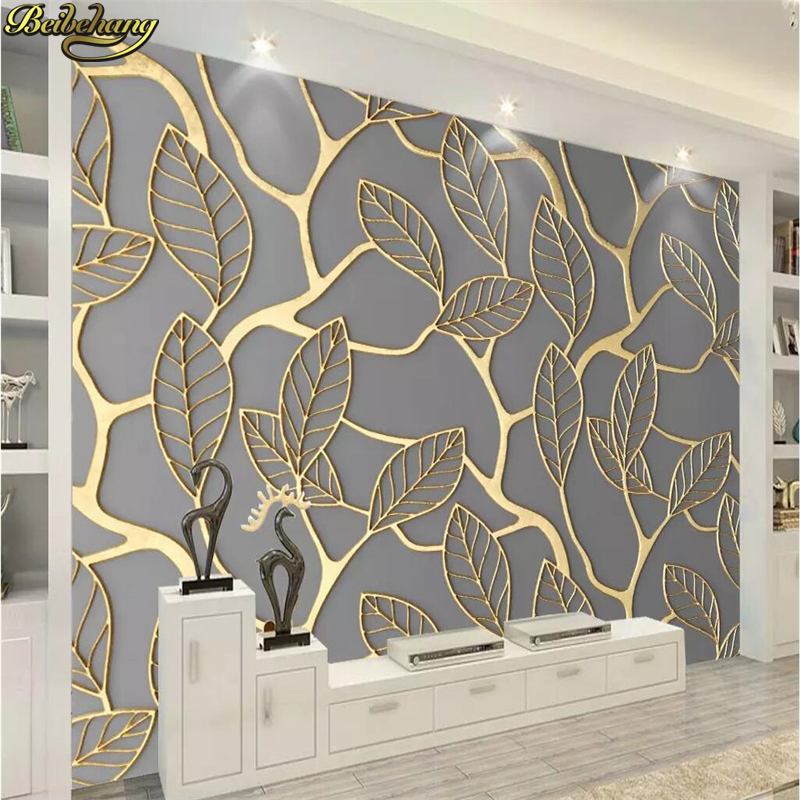 Beibehang Custom Photo Wallpaper Mural Golden Three-dimensional Leaves TV Background Wall Papers Home Decor 3D Wallpaper