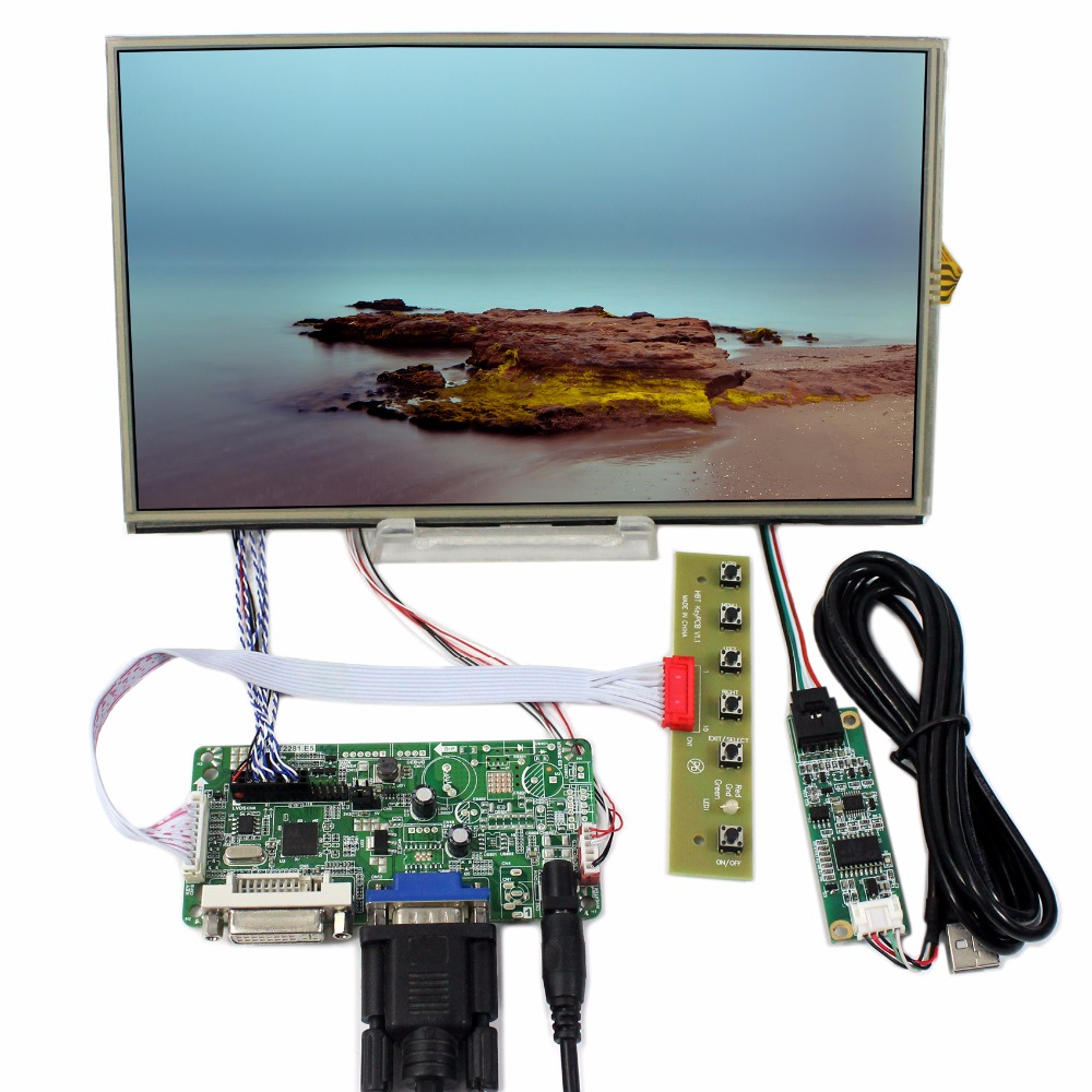 DVI VGA controller board+10.1inch B101XAN01 1366*768 IPS Lcd +Touch panel 8 4 8 inch industrial control lcd monitor vga dvi interface metal shell open frame non touch screen 800 600 4 3
