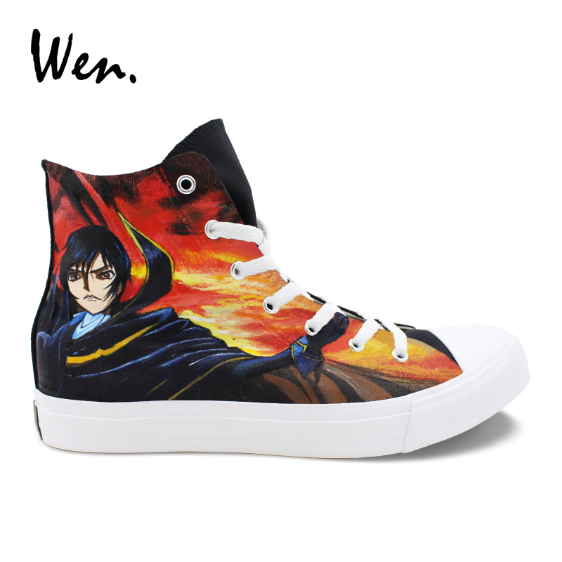 Wen Men Women Sneakers Anime Design Code Geass Hand Painted Custom Shoes Canvas High Top Shoes Boys Girls Sport Shoes wen design custom hand painted anime shoes grimgar of fantasy and ash high top women canvas sneakers men athletic skate shoes