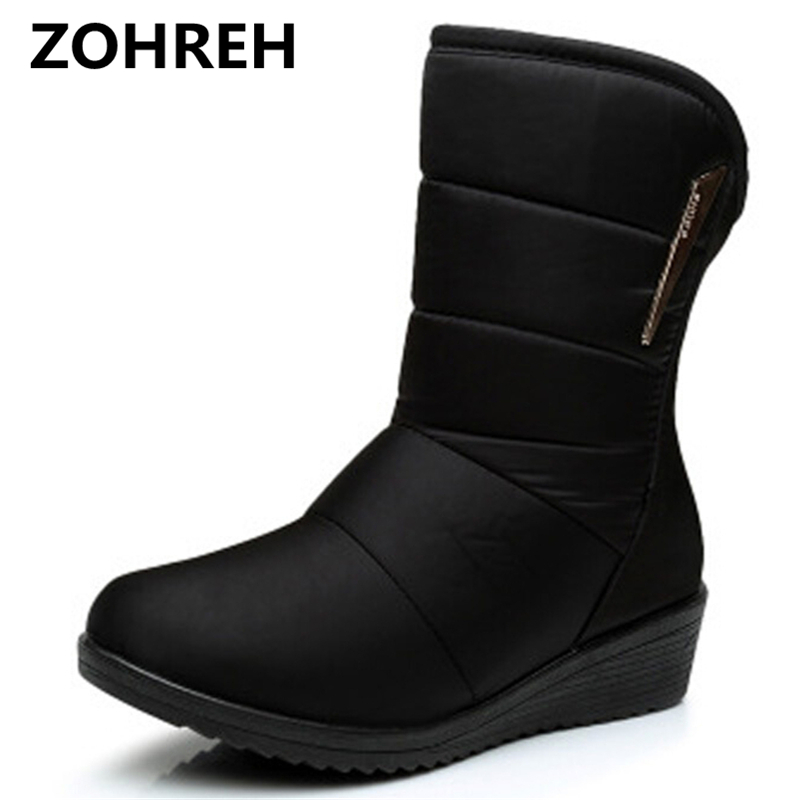 2018 Winter Women Boots Mid-Calf Down Boots Female Waterproof Ladies Snow Boots Girls Winter Shoes Woman Plush InsoleBotas double buckle cross straps mid calf boots