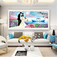 D SH Full Diamond Embroidery for Couple Wedding with Lovely Gooses 5D Diy Diamond Painting Square/Round Mosaic Diamond Paint