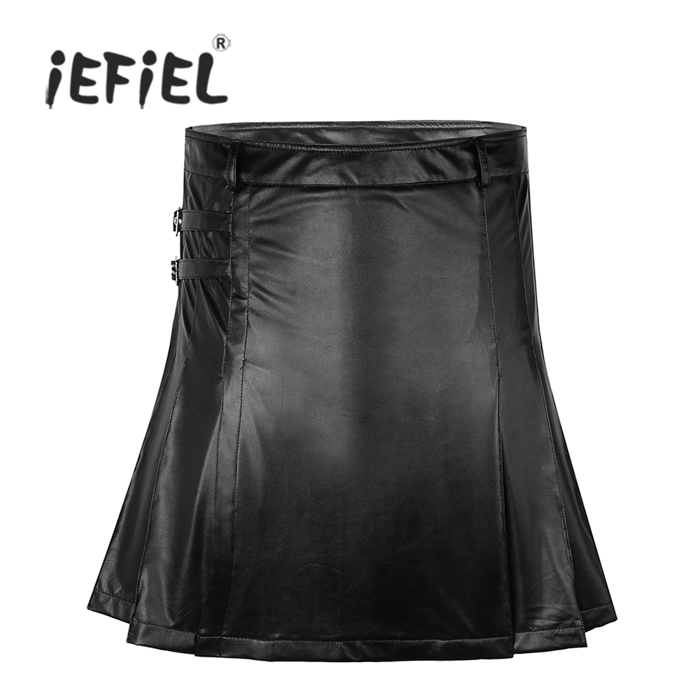 iEFiEL Black Mens Faux Leather Spandex Sexy Men's Shorts Skirt Wrap Style with Side Zipper Closure for Nightclub Cosplay Party