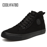 COOLVFATBO Trend Men's Vulcanized Shoes Black High Top Lace up Autumn Winter Casual Canvas Shoes For Men Boys Sneakers Without