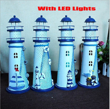 2016 New Mediterranean Style Conch Fishing Nets Lamp Lighthouse Home Decoration Tower Lantern Creative Models