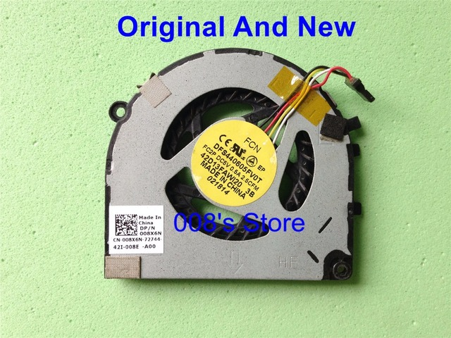 Cpu cooler fan para dell xps 13 ultrabook l321x originales forcecon dfs440605fv0t fc2p dc5v 0.5a 2.5cfm dp/n 008x6n 4 pin