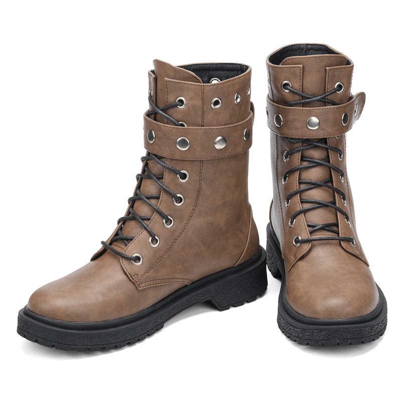 Ekoak yeni klasik sonbahar kış perçin çizmeler seksi yarım çizmeler kadınlar için bayanlar ayakkabı kadın deri motosiklet botları
