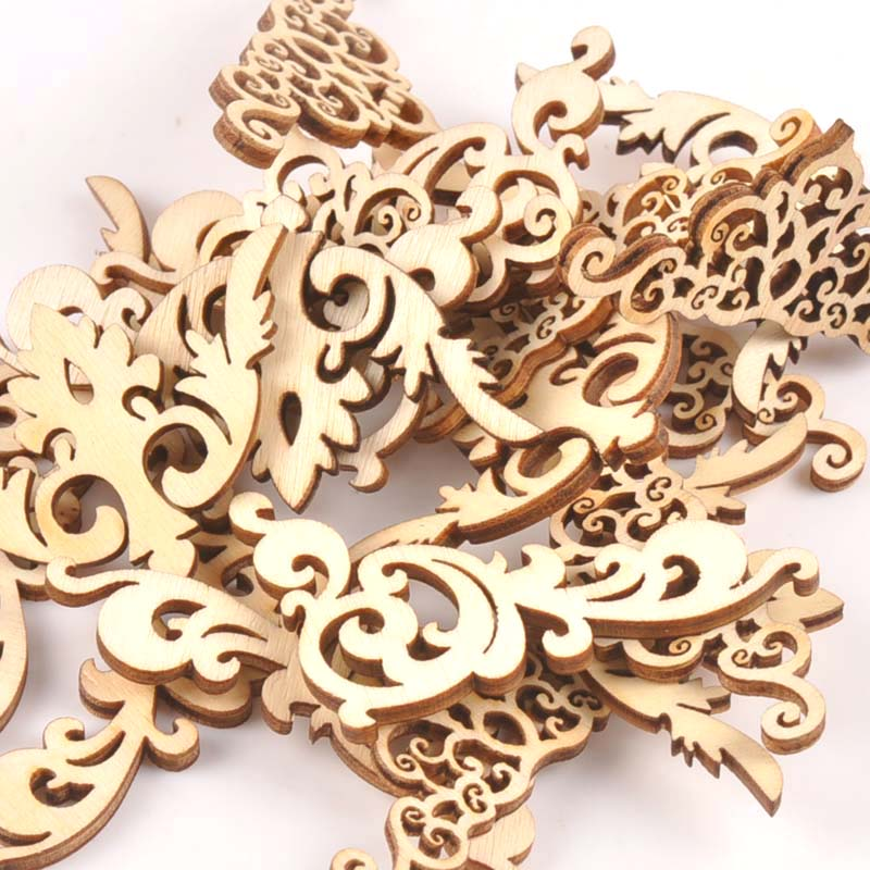 20Pcs 8cm Natural Wood Crafts Scrapbook DIY Book Corner Flower Lace Pattern Wooden Ornaments Handmade Album Corners M1835