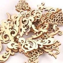 20 piezas de 8cm de madera Natural de álbum de recortes artesanal libro para bricolaje esquina flor patrón de encaje adornos de madera hecho a mano, álbum esquinas m1835