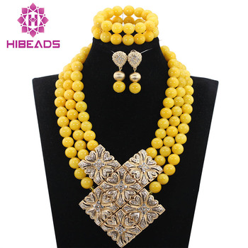 Graceful Yellow African Beaded Wedding Costume Jewelry Sets Big Jewelry Set Gold Pendant Necklace 16 Colors Free Shipping WD952