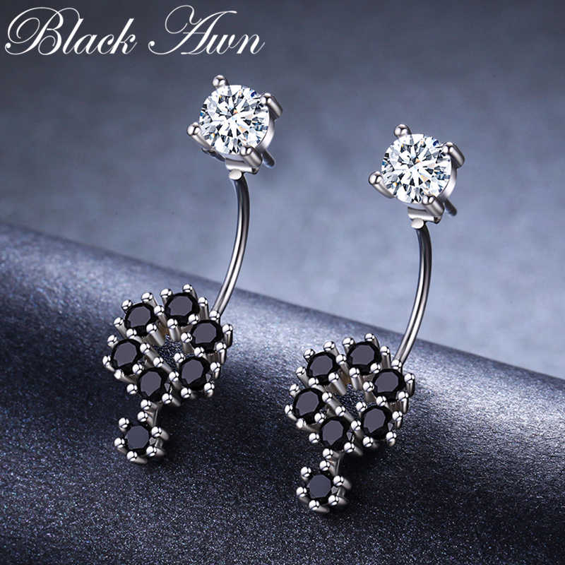 Birthday Present 925 Sterling Silver Jewelry Engagement Flower shape Stud Earrings for Women Black Spinel Female Earring II034