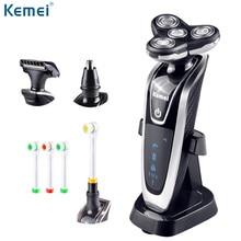 Kemei negro afeitar eléctrica rotatoria herramienta carga rápida depilación depiladora eléctrica afeitar flotantes + caja de regalo