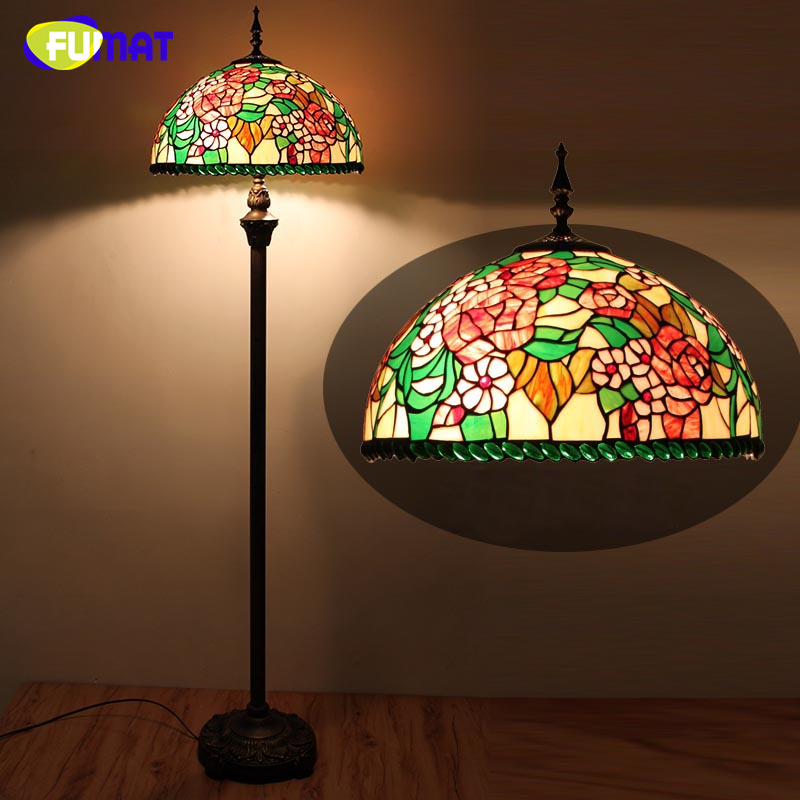 FUMAT European Tiffany Pastroal Stained Glass Floor Lights Rose shade LED Lights For Living Room Bedside Stand Floor Lamps