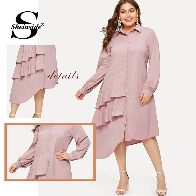 Sheinside Plus Size Pink Casual Ruffle Detail Shirt Dress Women 2019 Spring Asymmetrical Hem Midi Dresses Ladies Straight Dress 5