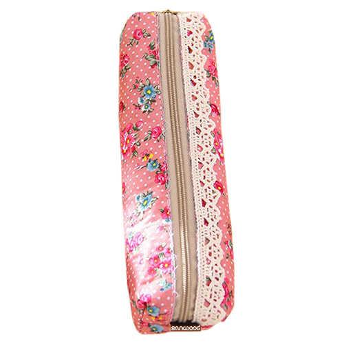 2016 Mini Flor Do Laço Floral Lápis Pen Caso Maquiagem Cosméticos Make Up Bag Zipper Pouch Bolsa 9IHP