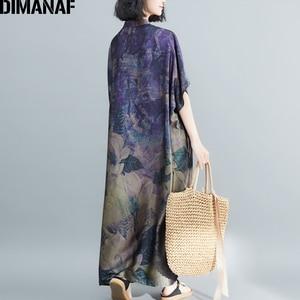 Image 4 - DIMANAF Plus Größe Frauen Kleid Vintage Große Größe Weibliche Vestido Sommer Sommerkleid Lose Drucken Floral Dame Elegante Lange Kleid 5XL 6XL