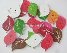 WBNKGW Printed wood leaf buttons multicolors 150 pieces DIY handmade craft supplies sewing accessories