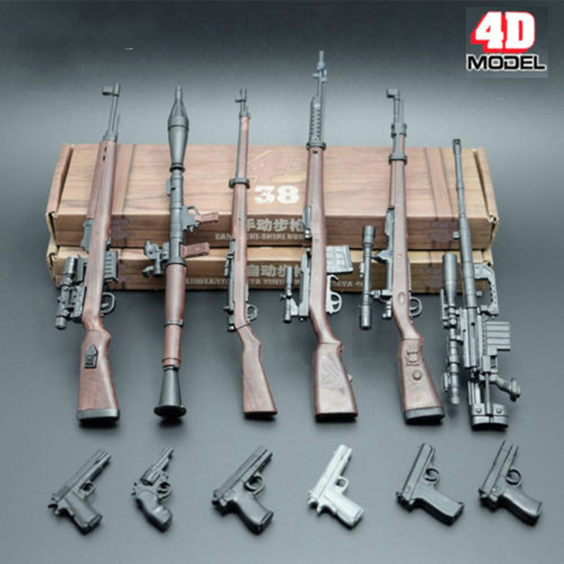 4D Rifle Assembly <font><b>Weapon</b></font> Model 1:6 <font><b>Scale</b></font> Toy Gun <font><b>Weapons</b></font> 6pcs Set 98K Gun Toy For 12 inches Action Figure doll toy gift image