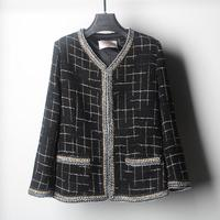 Fashion Brand Spring Autumn New Striped Tweed Small Fragrant Woolen Coat Female Aristocratic Temperament Small Coat