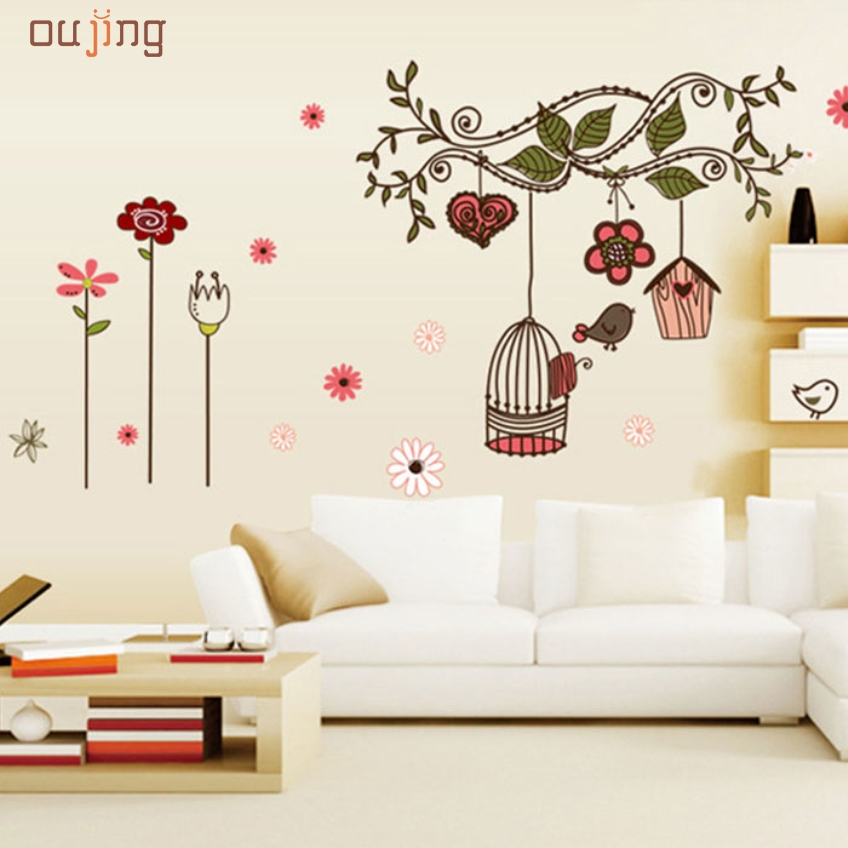 Oujing gifts removable mural diy diy fresh nature for Diy tree wall mural