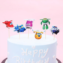 Decoration Cupcake Toppers with Sticks Baby Shower Boys Kids Favors Birthday Party Super wings/Superwings Cake Topper 24PCS/LOT
