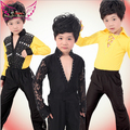 Free Shipping 3 Styles Yellow Black Lace Boy Latin Dance Clothes / Ballroom Modern Latin Boys Dance Costume