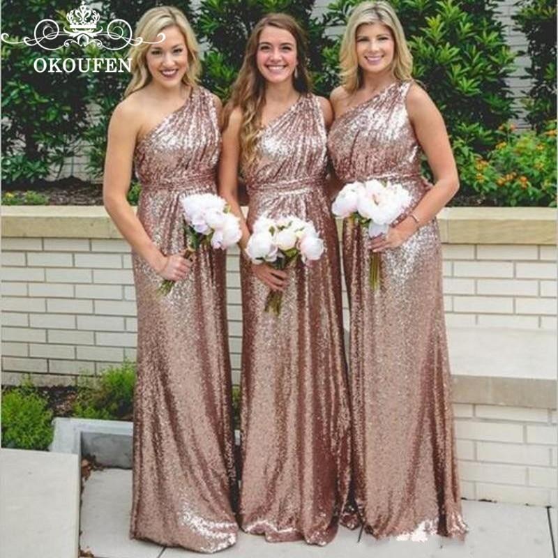 Оптовая цена длинное платье подружки невесты в стиле русалки 2019 Искрящиеся, с блестками одно плечо горничной честь вечерние для женщин длина до пола - 2