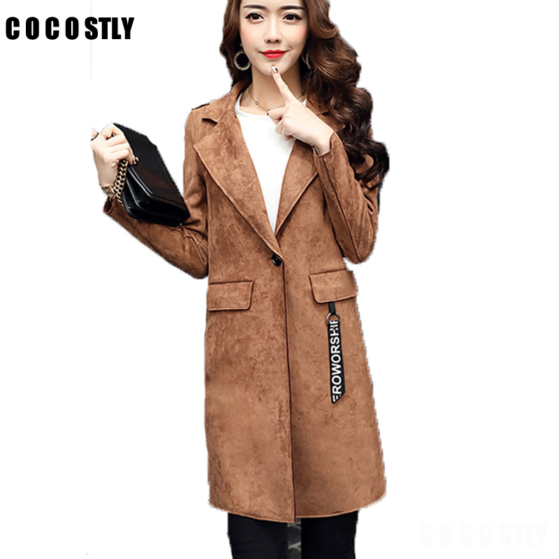 High Quality 2017 Winter Women Trench Coat Fashion Office Ladies One Button  Grey Long Trench Coat - Compare Prices On Suede Trench Coat- Online Shopping/Buy Low Price